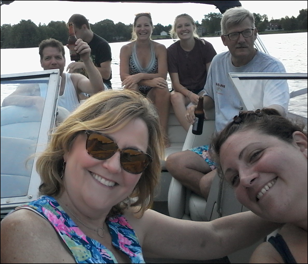 Boating on Ted's family's lake 2018