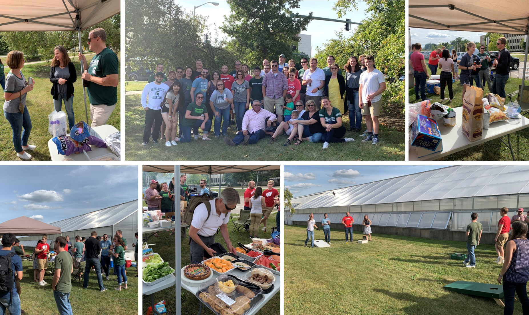 Collage of the 2019 MSU departmental tailgate